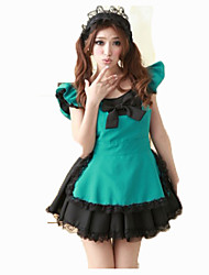 Cosplay Costumes Maid Costumes Festival/Holiday Halloween Costumes Green Solid Carnival Female Uniform Cloth