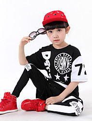 Jazz Outfits Dance Dress For Boys/Girls Kid's Children's Performance Cotton Print Sequins 3 Pieces Short Sleeve Top Pants Shorts Black