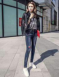 pantalones vaqueros de los pantalones del resorte pies femeninos pantalones agujero parche nuevo tramo lápiz pantalones perceptiblemente
