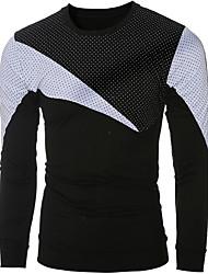 Erkek Orta Pamuklu Uzun Kollu Yuvarlak Yaka Bahar Sonbahar Solid Zıt Renkli Sade Günlük/Sade Beyaz Siyah-Erkek Tişört