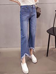 подписать Dongguk двери весной 2017 моделей сыпучие широкую ногу ботинок края реза бахромой джинсовой колготок