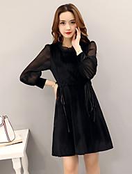 Real shot 2017 spring Korean fashion corduroy splicing net yarn dress spring long-sleeved skirt