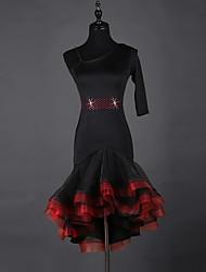 Devemos vestidos de dança latina mulheres vestido de organza de organza 1 peça