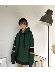 Sign new winter was thin printing loose stitching hedging plus velvet hooded sweater coat female students