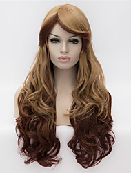 Cosplay Wigs Color Wig Fashion Side Brown Gradient 26 inch Long Curly Hair