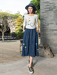 2017 new Chinese style clasp was thin vintage denim dress embroidered embroidered skirts