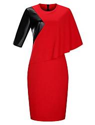 Feminino Tubinho Vestido,Tamanhos Grandes Simples Floral Estampa Colorida Decote Redondo Altura dos Joelhos Manga ¾Azul Rosa Vermelho