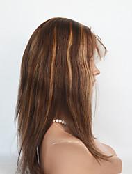 cheveux humains # 4/27 ombre perruques de cheveux de couleur droites pleines perruques de dentelle 8-14inch