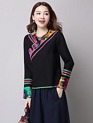 Feminino Camiseta Para Noite Casual Sensual Simples Moda de Rua Primavera Outono,Estampado Azul Preto Seda Algodão Colarinho ChinêsManga