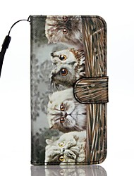 For Card Holder Wallet with Stand Flip Pattern Case Full Body Case Cat Hard PU Leather for Apple iPhone 7 Plus iPhone 7 iPhone 6s Plus/6