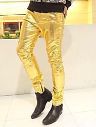 Masculino Simples Cintura Média Micro-Elástica Chinos Calças,Skinny Sólido