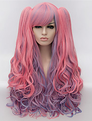 Cosplay Wigs Pink Color Cartoon Wig Europe and America Fashion Partial Points Highlights The Dual Horsetail 28 inch Long Curly Hair