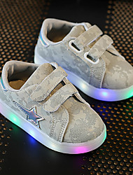 Kids Boys Girl's Sneakers Spring Summer Fall First Walkers Leather Outdoor Sport Glowing Shoes Casual Low Heel LED Pink Gray Dark Gray Walking