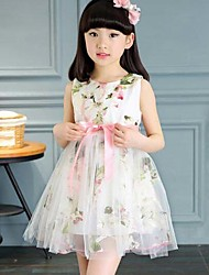 Girl's Floral Patchwork Dress,Polyester Summer Sleeveless