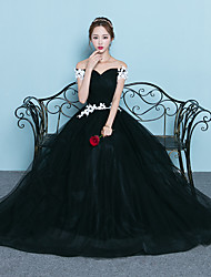 Formal Evening Dress Trumpet / Mermaid Bateau Sweep / Brush Train Tulle with Appliques