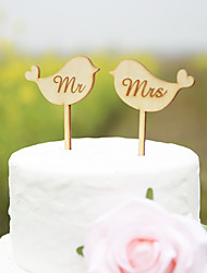 Love Birds Wedding Cake Topper in Natural Wood Color Fits 4-8 Inches Cakes
