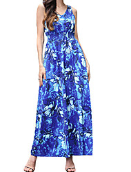 Going out Casual/Daily Beach Sexy Cute Swing Dress,Print V Neck Midi Sleeveless Polyester Blue Red Spring Summer Mid Rise Micro-elastic
