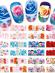 1pcs 12Design Fashion Colorful Beautiful Rose Image Design Hot Nail Art Sticker Full Decals Nail Water Transfer Decals Nail Beauty BN553-564