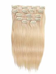 7 PC / Satz Clip in Haarverlängerungen ausbleichen blonde 14inch 18inch Menschenhaar 100% für Frauen