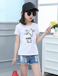 Casual/Daily Solid Print Tee,Cotton Rayon Summer Short Sleeve