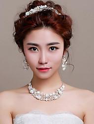 Bijoux 1 Collier 1 Paire de Boucles d'Oreille 1 Bijou de Cheveux Strass Perle imitée Mariage Soirée Occasion spécialeAlliage Imitation de