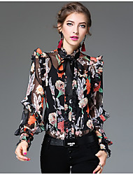 Women's Going out Casual/Daily Vintage Shirt,Print Stand Long Sleeve Black Orange Silk