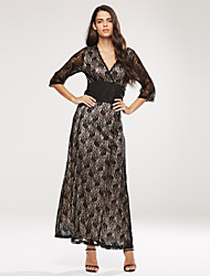 Women's Plus Size V Neck  Lace Maxi Long Dress