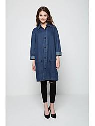 Manteau Femme,Couleur Pleine Sortie Vintage Manche Longues Mao Repasser à l'envers Others Long Printemps
