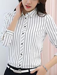 Mujer Simple Noche Primavera Verano Camisa,Escote Chino A Cuadros Manga Larga Poliéster Blanco Medio