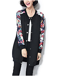 Women's Casual/Daily Street chic Jackets,Floral / Color Block Round Neck Long Sleeve Fall / Winter Black PU Medium