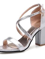 Sandalen-Kleid Lässig-PU-Blockabsatz-Komfort-Schwarz Rosa Silber Gold