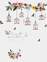 Wall Stickers Wall Decals Style Rattan Birdcage PVC Wall Stickers