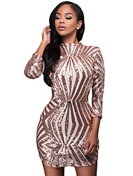 Women's Sequin Detail Open Back Party Mini Dress