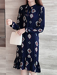 Women's Boho|Ruffle Plus Size Simple Shift Dress,Geometric Round Neck Above Knee Long Sleeve Cotton Polyester Blue Spring Fall Mid Rise Micro-elastic
