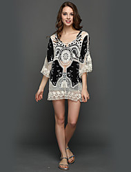 Women's Sequin Going out Beach Holiday Sexy Simple Boho Loose Lace Dress,Solid Round Neck Mini Long Sleeve White Polyester Summer High Rise