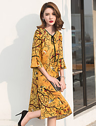 Sign 2017 summer new Chinese folk retro print large size loose thin silk dress
