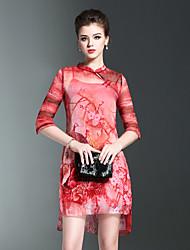 Feminino Reto Vestido,Para Noite Vintage Floral Estampa Animal Colarinho Chinês Acima do Joelho Meia Manga Vermelho Cinza Seda Outros