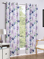 Two Panels Curtain Country Flower Living Room Linen/Polyester Blend Curtains Drapes Home Decoration For Window