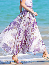 Röcke,Schaukel Druck Chiffon,Strand Urlaub Boho Hohe Hüfthöhe Maxi Elastizität Kunstseide Polyester Unelastisch Sommer