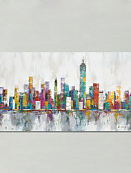 Hand-Painted Abstract Landscape HorizontalModern European Style One Panel Oil Painting For Home Decoration New York Skyline Cityscape