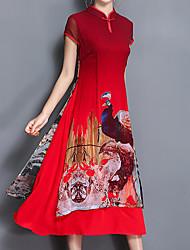Feminino Reto Vestido,Casual Festa/Coquetel Tamanhos Grandes Vintage Moda de Rua Temática Asiática Estampa Animal Gola RedondaMédio
