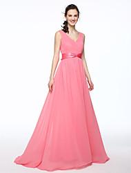 LAN TING BRIDE В пол V-образный вырез Платье для подружек невесты - Элегантный стиль Без рукавов Шифон