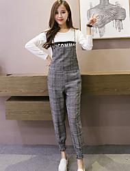 unterzeichnen neue koreanische Version des karierten Hosen dünne dünne Woll Overalls Strapse Hosen der weiblichen Füße neun Punkte