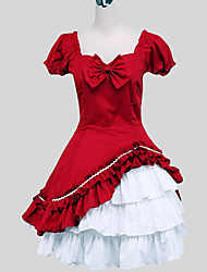 One-Piece/Dress Sweet Lolita Princess Cosplay Lolita Dress Solid Short Sleeve Long Length Skirt For Cotton