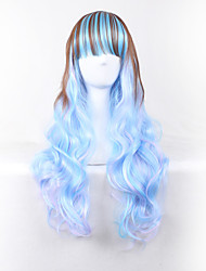 Body Wave Brown Mixed Blue Color Long Length Body Wave Harajuku Style Cosplay Wig