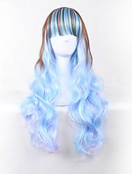 vague corps brun mixte couleur bleue longue longueur cosplay de style harajuku de vague de corps de perruque
