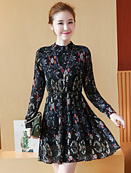 Sign 2017 spring new two-piece suit long-sleeved chiffon suede bottoming Floral Dress