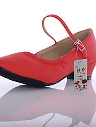 Obyčejné-Dámské-Taneční boty-Latina-Koženka-Na zakázku-Černá Červená Bílá