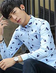 Осенью тонкая часть молодых британских мужчин отворот рубашку с длинными рукавами тонкий корейской версии случайные печати студентов