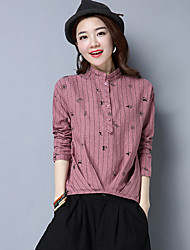 unterzeichnen 2017 Frühjahr neue Fett mm gestreiften Hemd Größe Frauen Druck&# 39; s Casual Langarm-Shirt Jacke